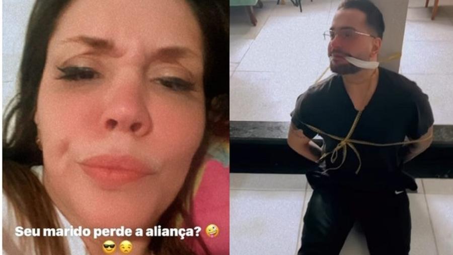 """Simony """"castiga"""" o marido após ele perder a aliança de casamento - Reprodução/Instagram"""