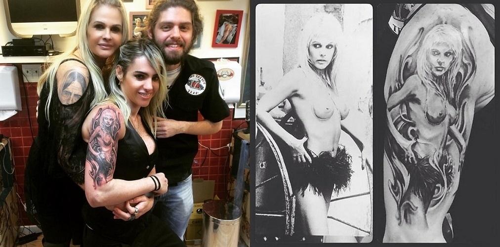 12.out.2015 - Monique Evans está encantada com a homenagem que recebeu na namorada, Cacá Werneck. A DJ tatuou neste fim de semana uma foto da modelo no braço direito
