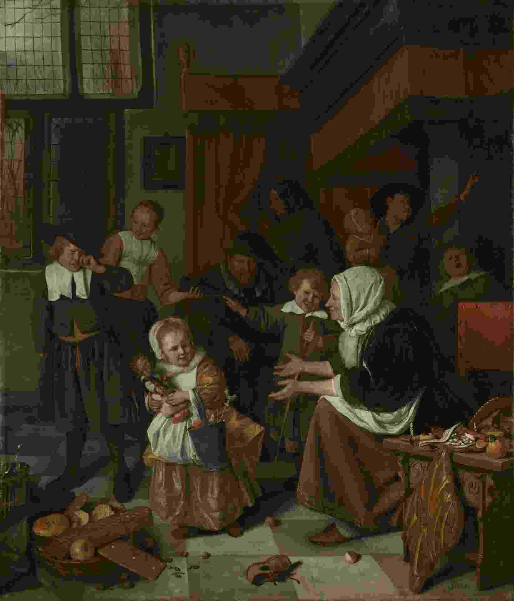 """O óleo sobre tela de Steen Jan Havicksz (1665-1668), batizado de """"A Festa de São Nicolau, impressiona pelos detalhes emostra uma pequena garota brincando com uma imagem sacra. - Steen Jan Havicksz/Rijksmuseum"""