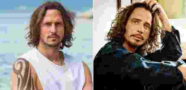 """Vladimir Brichta e Chris Cornell, sua inspiração para viver Gui Santiago em """"Rock Story"""" - Montagem/UOL"""