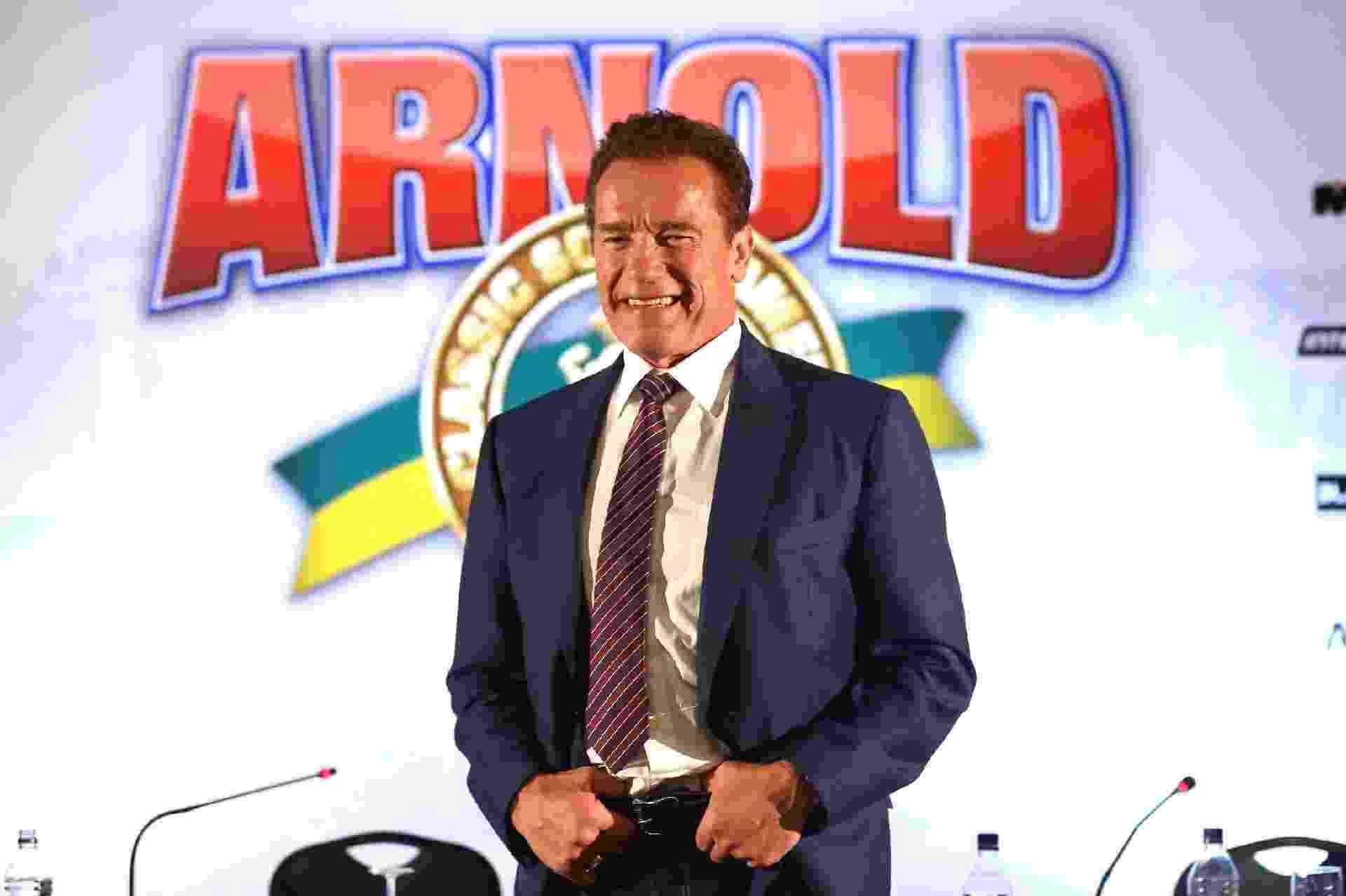 Arnold Schwarzenegger faz pose em entrevista coletiva no Arnold Classic South America - Manuela Scarpa/Brazil News