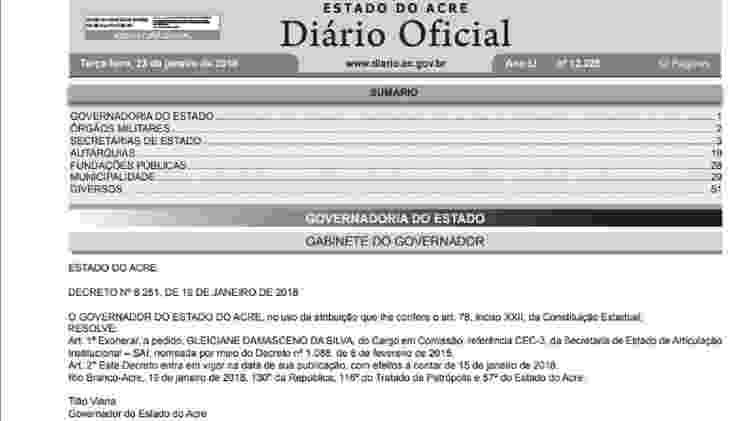 Reprodução/Diário Oficial do Acre
