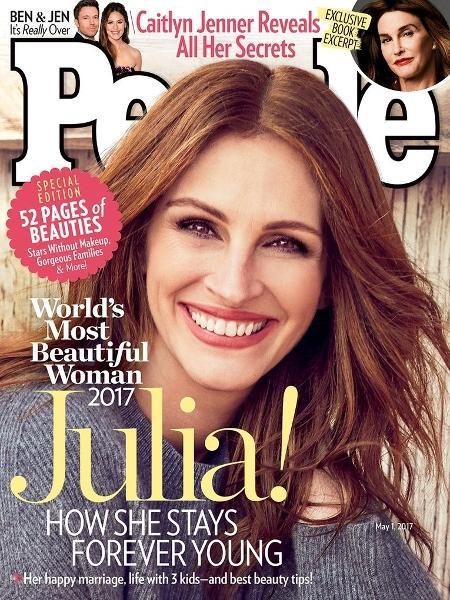 """Julia Roberts foi considerada a mulher mais bonita do mundo pela """"People"""" em 2017 - Reprodução"""