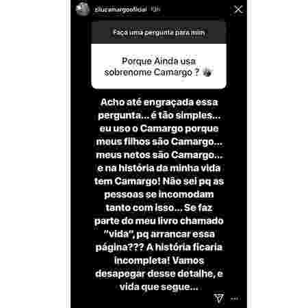 Zilu reponde a seguidor por que mantém sobrenome Camargo - Reprodução/Instagram - Reprodução/Instagram