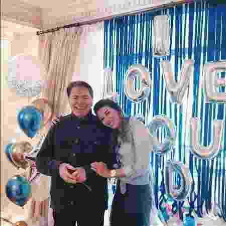Silvio Santos e a filha Rebeca durante comemoração do Dia dos Pais - Reprodução / Instagram