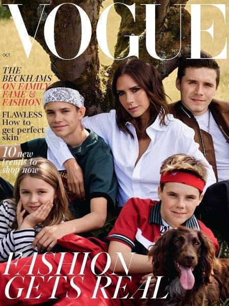 Victoria Beckham e os filhos Brooklyn, Romeo, Harper e Cruz - Reprodução/Vogue