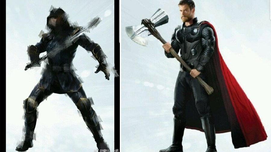 Ronin, o Gavião Arqueiro, e Thor com sua nova arma - Reprodução