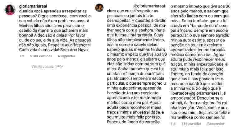 Gloria Maria discute com seguidora sobre o cabelo das filhas Laura e Maria - Montagem/UOL/Reprodução/Instagram/gloriamariareal - Montagem/UOL/Reprodução/Instagram/gloriamariareal