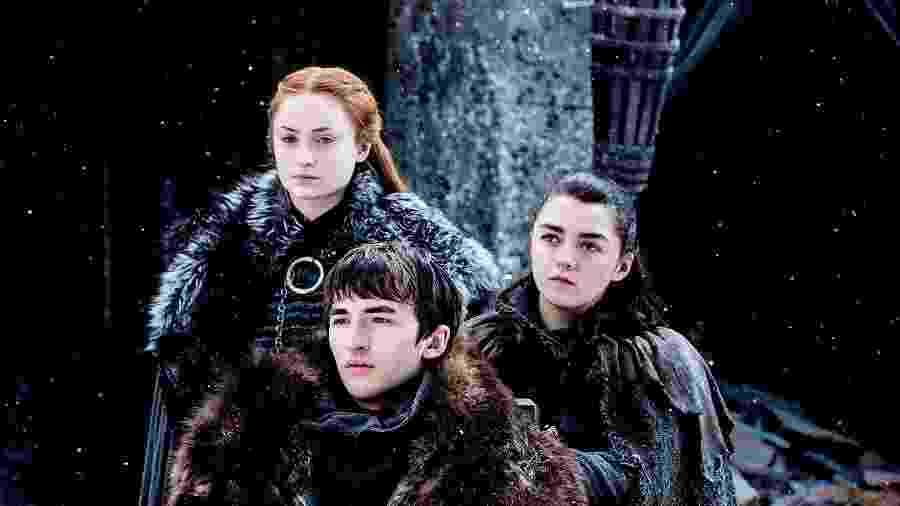 Sansa, Bran e Arya Stark em cena de Game of Thrones - Divulgação
