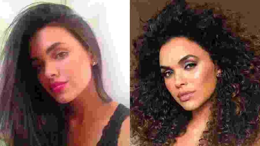 Giovana Cordeiro com cabelos lisos e depois da transição capilar - Reprodução/Instagram