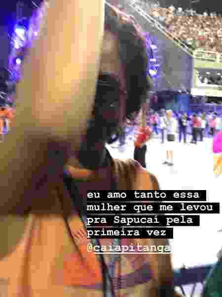 Beatriz Coelho faz clique de Camila Pitanga na Sapucaí - Reprodução/Instagram