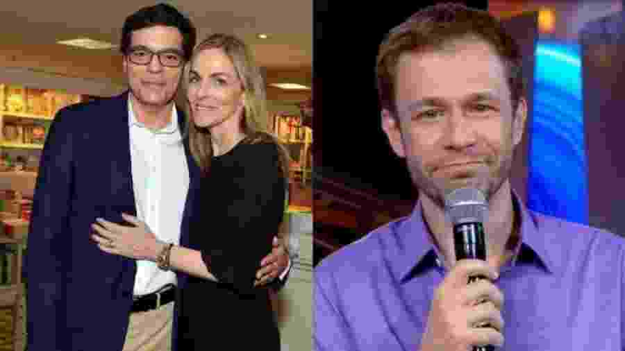 Ali Kamel e a mulher, colunista do jornal O Globo Patricia Kogut, e Tiago Leifert - Montagem de fotos de divulgação