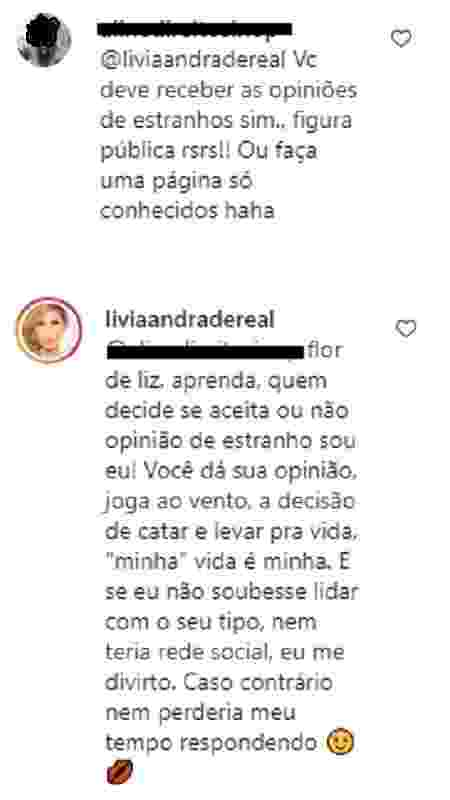 Lívia Andrade rebate comentário de seguidor sobre seu corpo - Reprodução/Instagram - Reprodução/Instagram