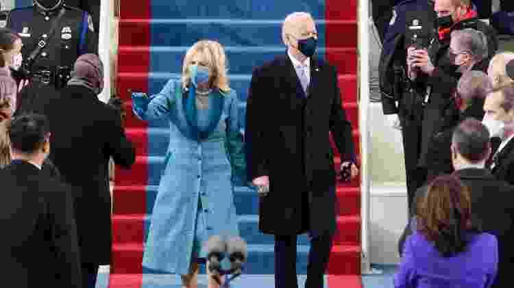 Jill Biden escolheu vestido em tweed da estilista Alexandra O'Neill - Getty Images - Getty Images