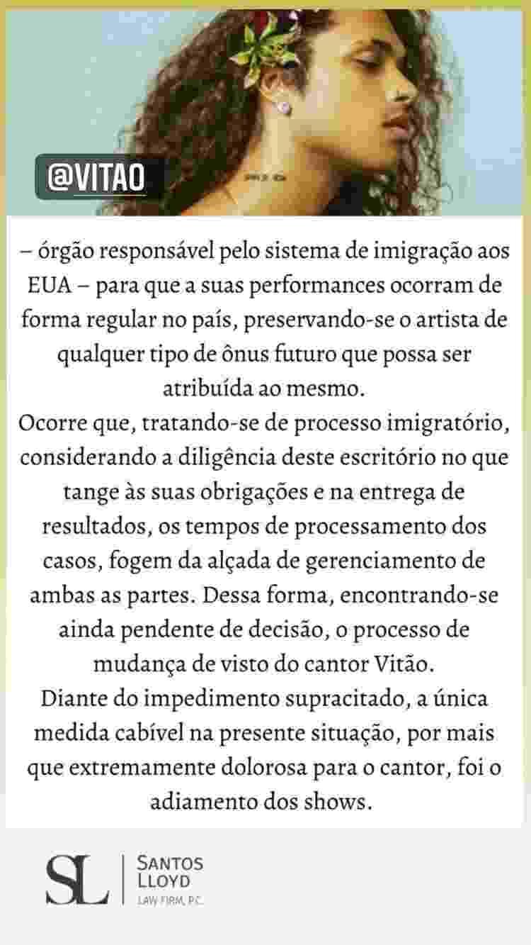 Vitão compartilhou texto - Reprodução/Instagram @santoslloydlaw - Reprodução/Instagram @santoslloydlaw