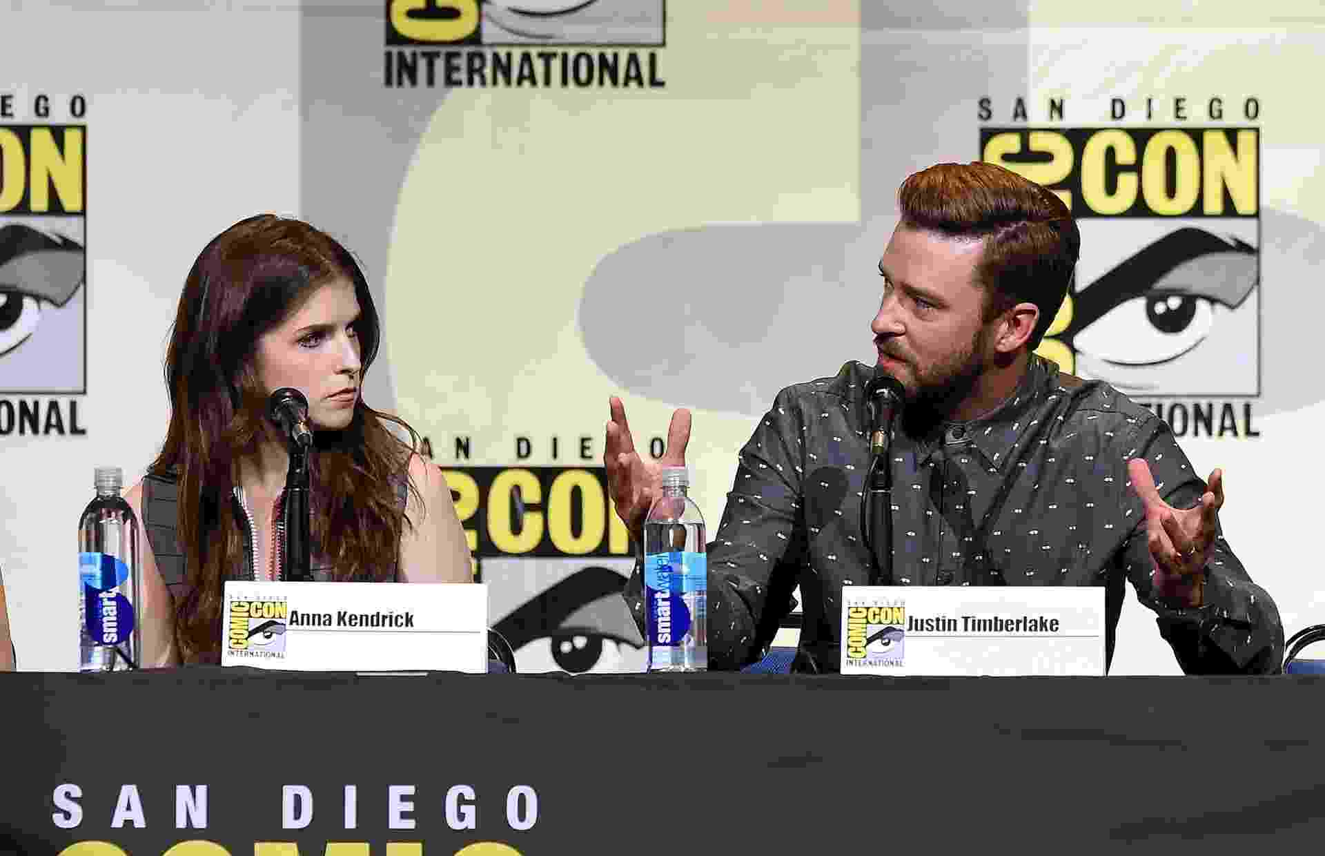 "21.jul.2016 - Anna Kendrick e Justin Timberlake apresentam a animação ""Trolls"" na San Diego Comic-Con - Kevin Winter/Getty Images/AFP"