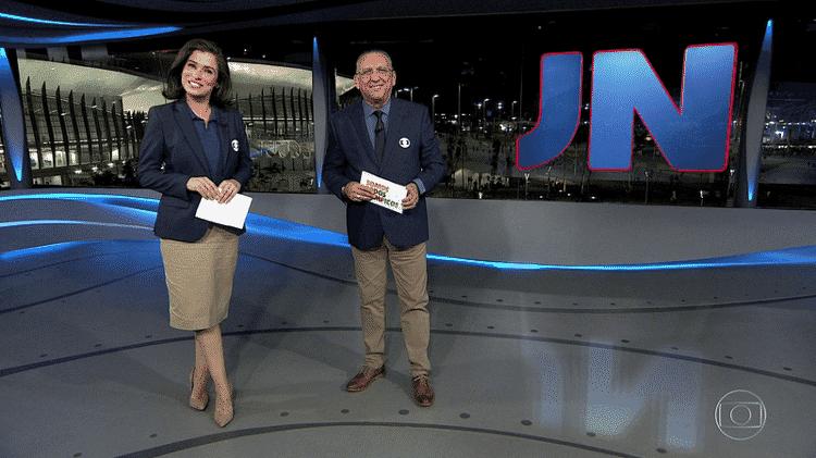 """Galvão Bueno formará novamente dupla com Renata Vasconcellos no """"Jornal Nacional"""" - Reprodução/TV Globo"""
