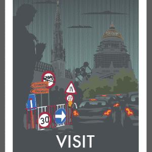 Sobrou crítica até a Bélgica, país onde vive Monk HF. Nesta ilustração, o artista mostra a capital belga, Bruxelas, com um congestionamento de veículos que com certeza que não agradaria muito o turista que visita a cidade - Divulgação/Monk HF