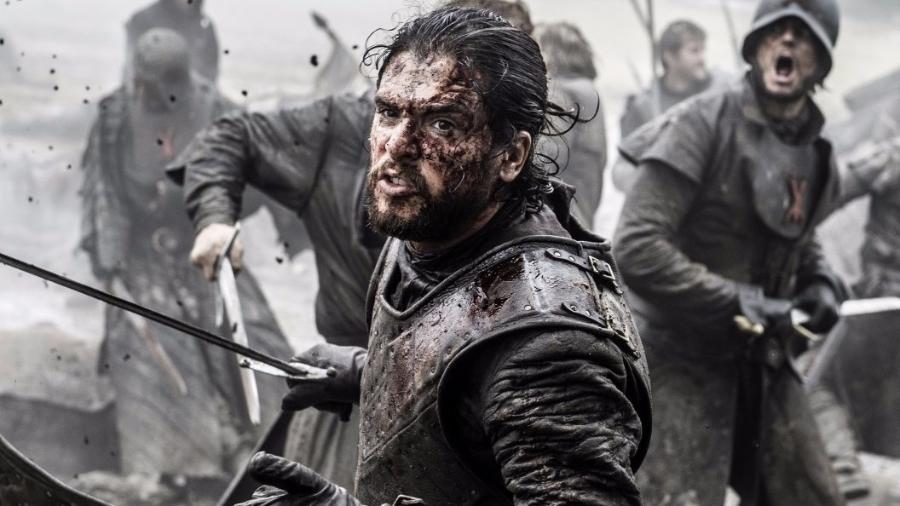 """Jon Snow (Kit Harington) em cena da Batalha dos Bastardos, na sexta temporada de """"Game of Thrones"""" - Divulgação"""
