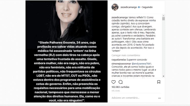 Zezé Di Camargo faz post no Instagram - Reprodução/Instagram - Reprodução/Instagram
