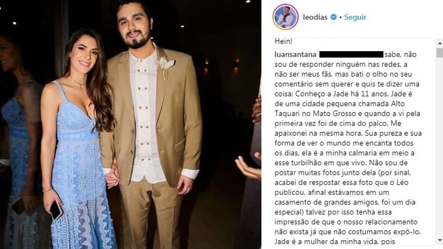 Luan Santana rebate internauta que falou sobre seu relacionamento com Jade Magalhães - Reprodução/Instagram/leodias