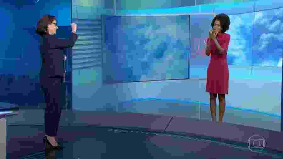Maju Coutinho troca beijos com Renata Vasconcellos em despedida do Jornal Nacional - Reprodução/TV Globo
