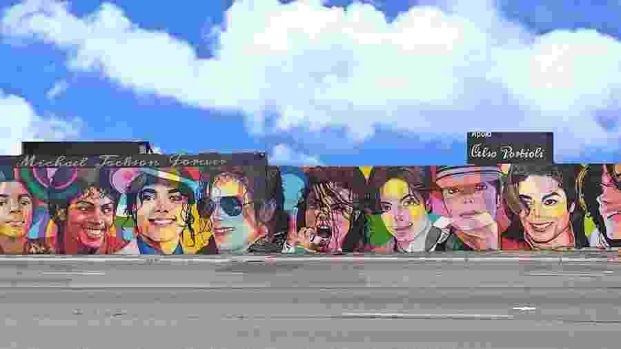 Mural em homenagem a Michael Jackson na marginal Pinheiros, em São Paulo - Reprodução/Facebook/Paulo Terra