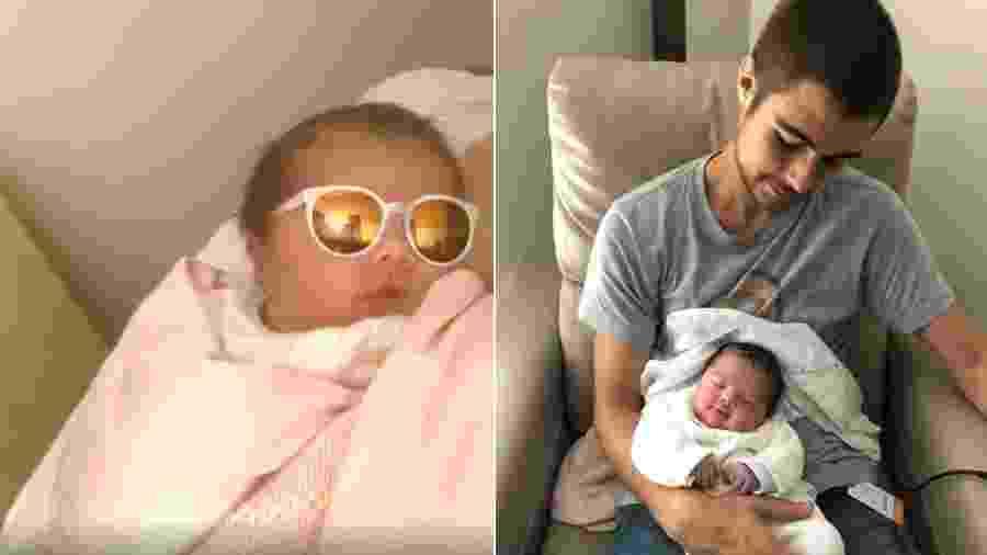 Tatá Werneck faz vídeo da filha com filtro; Rafael Vitti posou com a neném no colo - Reprodução/Instagram
