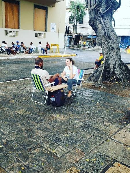 Projeto Escutatória, em Recife, antes da quarentena; iniciativa agora ocorre por telefone - Arquivo Pessoal