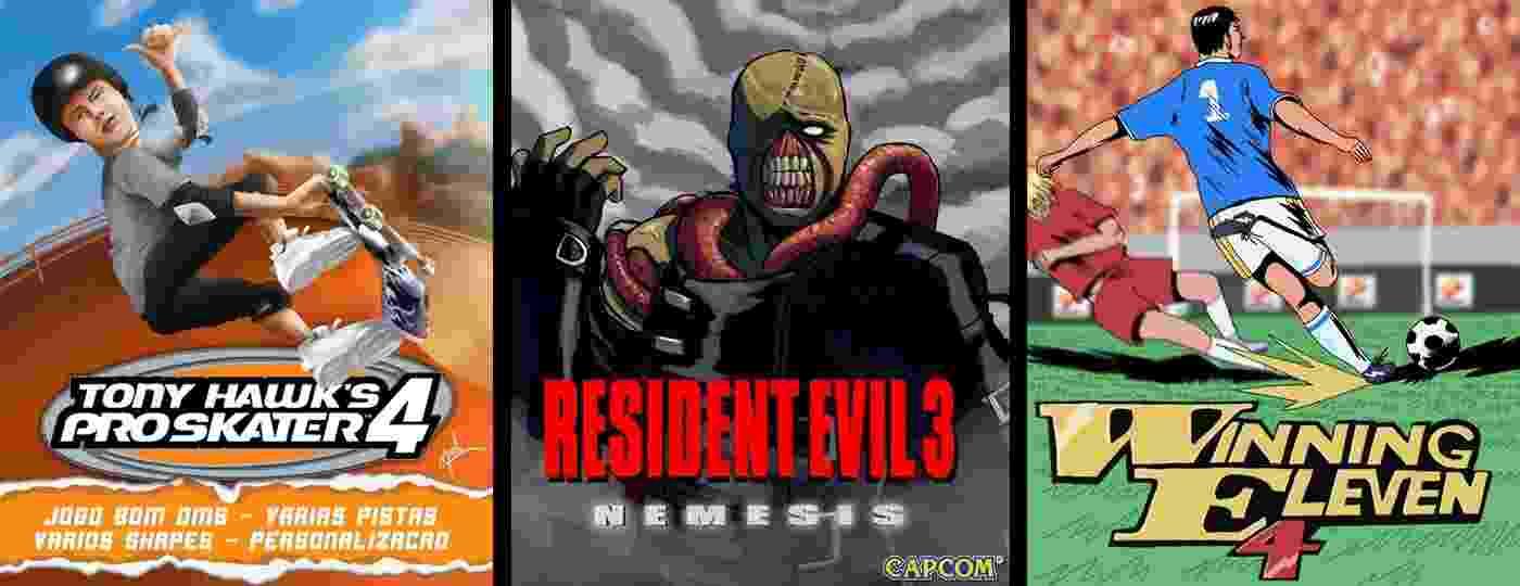 A partir da esquerda: Tony Hawk (por Jardel Lucas), Resident Evil 3 (Henrik) e Winning Eleven (LUFE) - Reprodução/Twitter