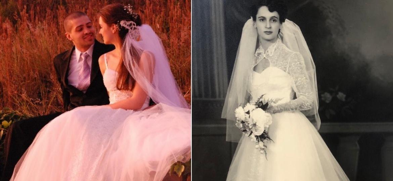 A família de Rebecca desenvolveu uma história com o vestido, que passou por festas de 15 anos e casamentos - Arquivo Pessoal