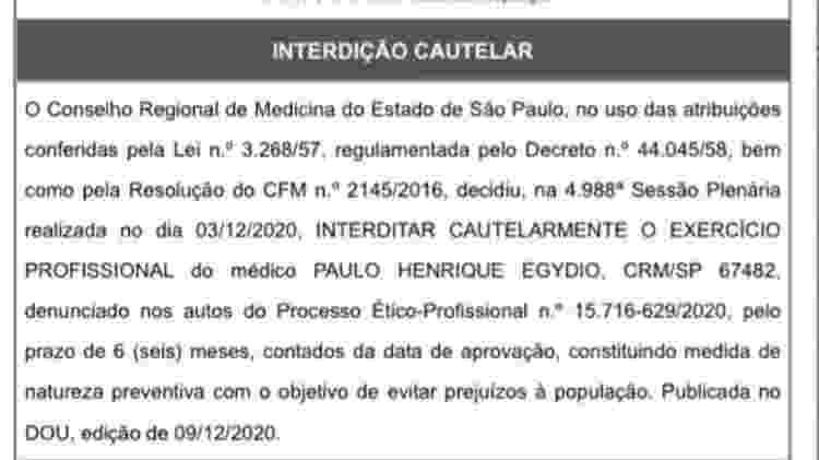 Urologista Paulo Henrique Egydio teve o exercício profissional interditado cautelarmente pelo Cremesp - Reprodução - Reprodução