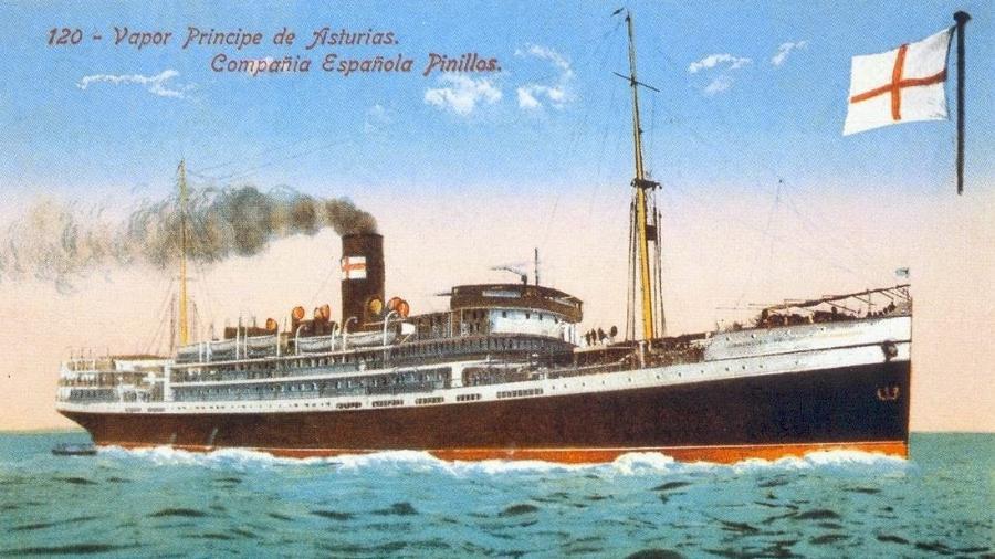 Desenho do Príncipe de Astúrias, que naufragou perto de Ilhabela - Blog do historiador Jeannis Platon