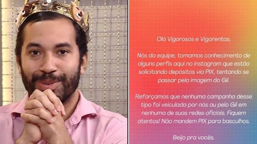 Gil do Vigor alerta fãs sobre golpe - Reprodução/Instagram