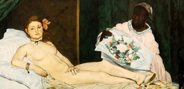 """Deborah de Robertis posou nua como a prostituta Olympia do quadro de Manet (acima) - RMN-Grand Palais/ Musée d""""Orsay"""