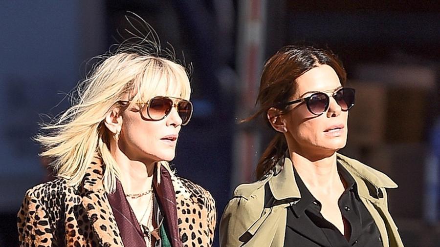 """Cate Blanchet e Sandra Bullock nas ruas de Nova York durante gravação do filme """"Oito Mulheres e um Segredo"""" - AKM-GSI"""