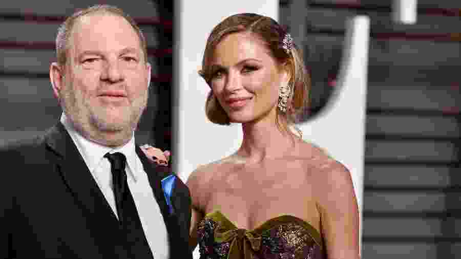 O produtor de cinema Harvey Weinstein com sua esposa, a estilista Georgina Chapman, na festa pós-Oscar 2017 da revista Vanity Fair - Pascal Le Segretain/AFP/Getty Images