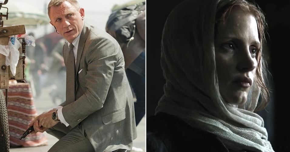 """À esquerda, Daniel Craig em cena no filme """"007 - Operação Skyfall"""" (2012). À direita, Jessica Chastain em cena no longa """"A Hora Mais Escura"""" (2012)"""
