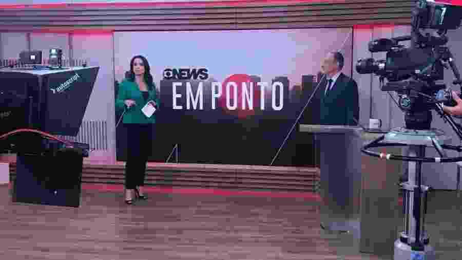 """Izabella Camargo e Zé Roberto Burnier no matinal (e longo) """"Em Ponto"""", da GloboNews - Divulgação"""