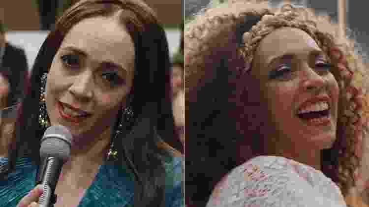 """Clara Nunes (Laila Garin) com os cabelos lisos e crespos no filme """"Chacrinha: O Velho Guerreiro"""" - Montagem/UOL/Divulgação - Montagem/UOL/Divulgação"""