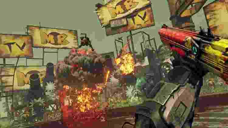 """Explosões e tiroteios em distância curta fazem parte rotina em """"Rage 2"""" - Divulgação"""