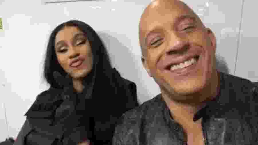 Rapper Cardi B, que segundo ela mesma estava cansada, gravou vídeo ao lado de Vin Diesel - Reprodução/Instagram