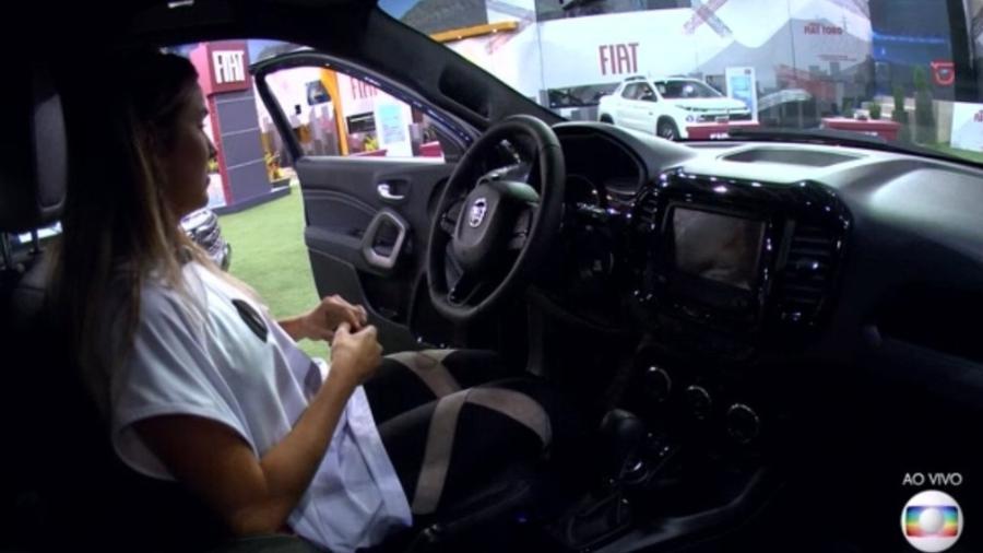 Gabi fica confusa na hora de ligar o carro na prova do líder - Reprodução/TV Globo
