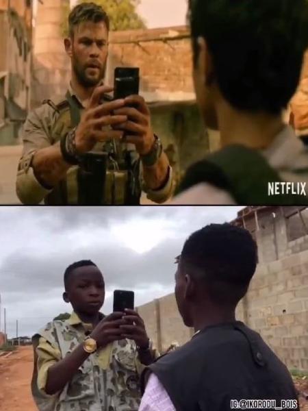 """Meninos nigerianos reproduzem cenas de """"Resgate"""", da Netflix - Reprodução/Twitter/@IkoroduB"""