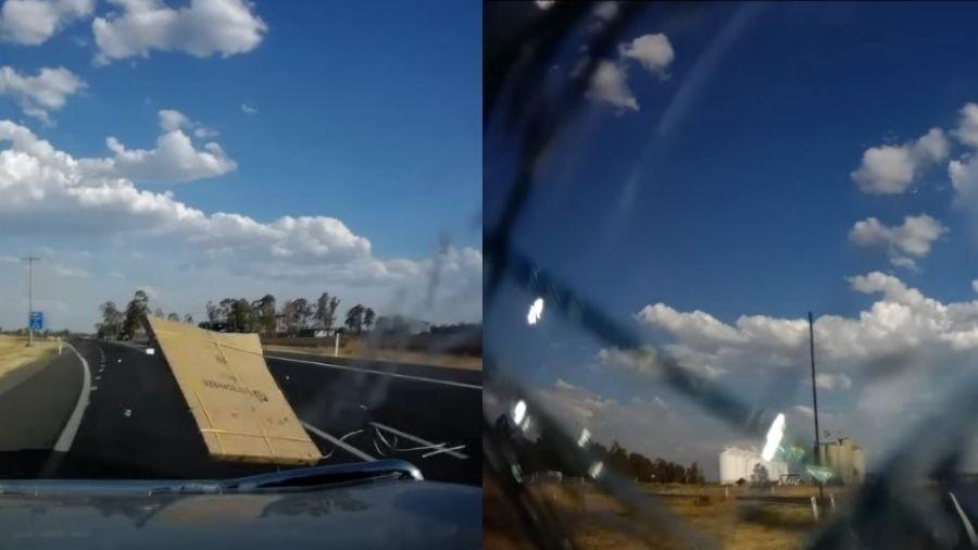 Vídeo mostra o para-brisa do carro sendo atingido por mesa - Reprodução/Facebook