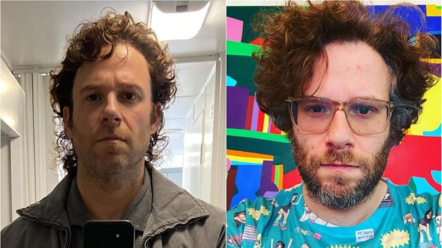 """Seth Rogen: antes e depois da preparação para a série """"Pam & Tommy"""", da Hulu - Reprodução/Instagram"""