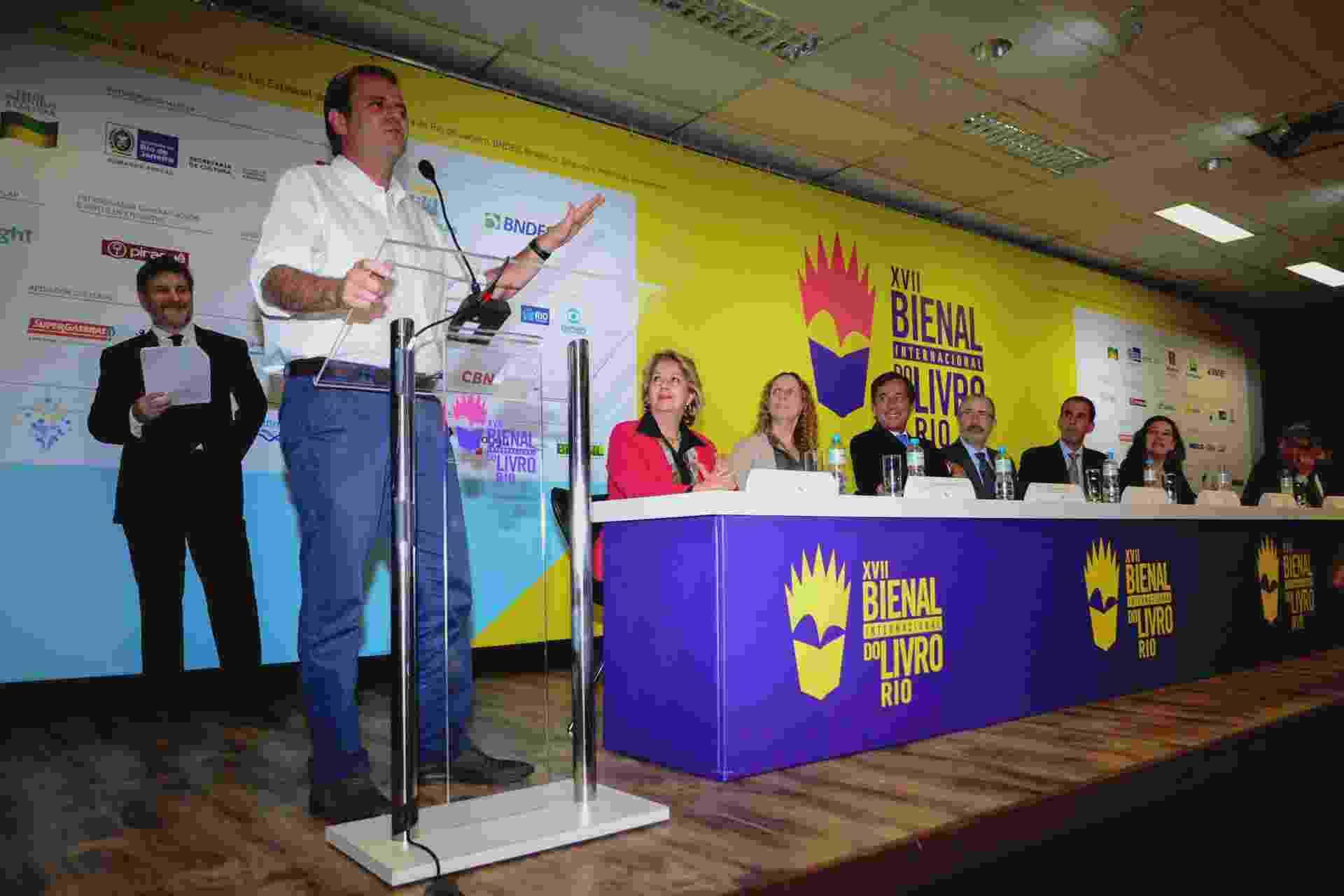 3.set.2015 - O prefeito do Rio Eduardo Paes abre a 17ª edição da Bienal Internacional do Livro - Estadão Conteúdo
