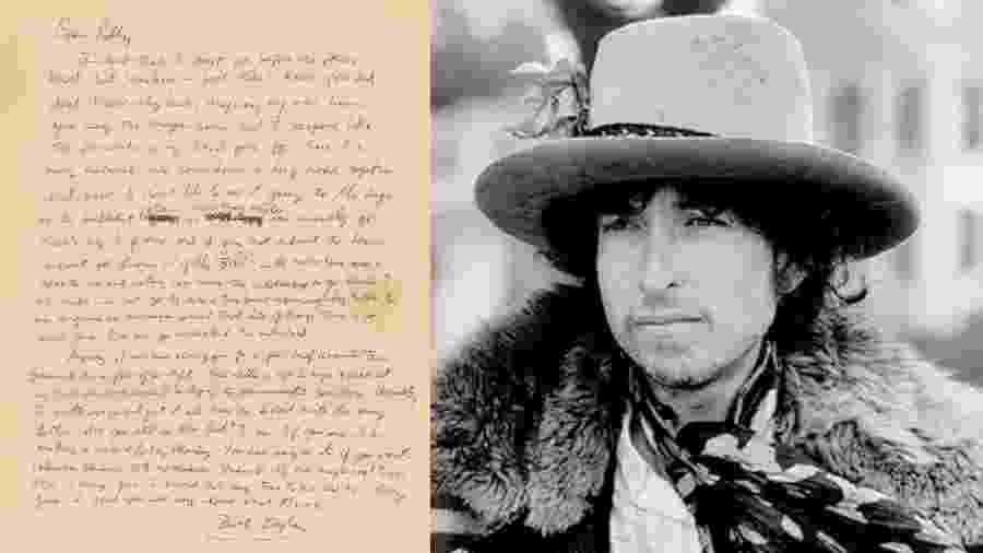 Cantar escrita à mão por Bob Dylan - RR Auction/Reprodução