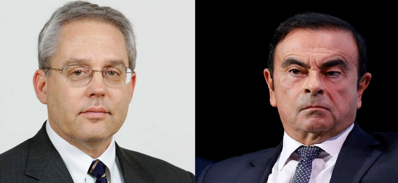 Kelly (esq.) está preso com Ghosn desde novembro em Tóquio - Divulgação e Reuters