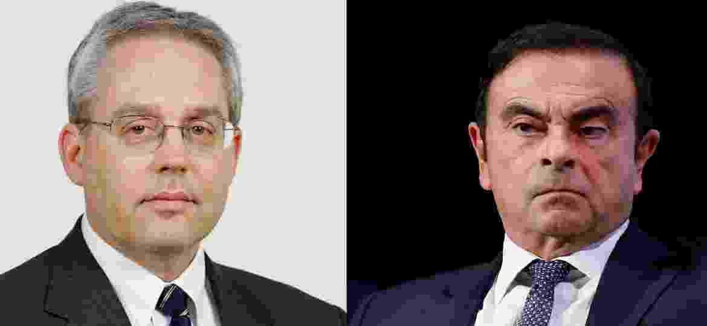 Kelly (esq.) estava preso com Ghosn desde novembro em Tóquio - Divulgação e Reuters